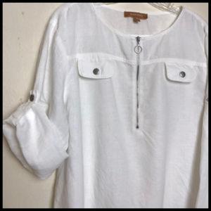 Linen Tunic Top w Silver Zipper Size L